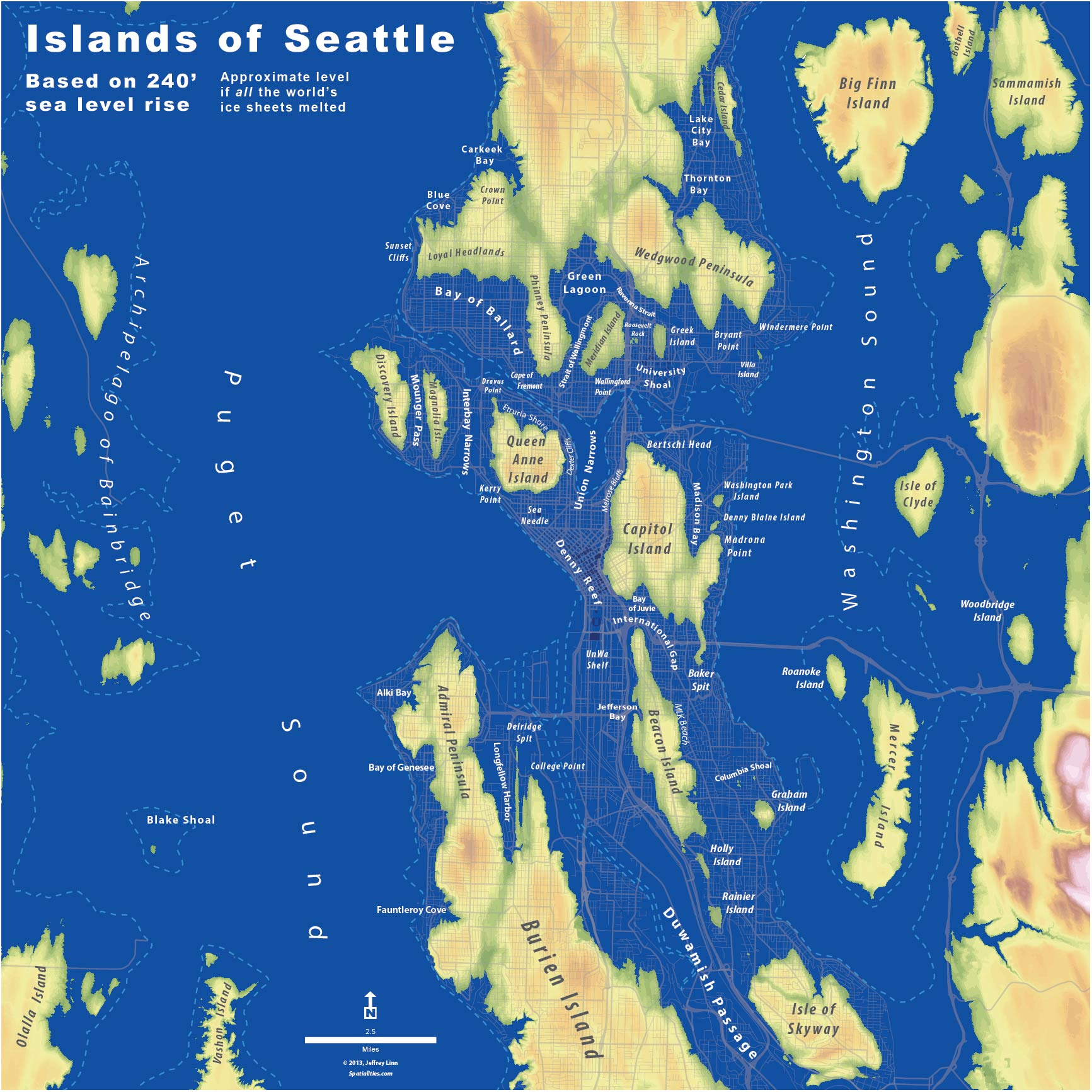 Islands Of Seattle The Whole U - Rising oceans map