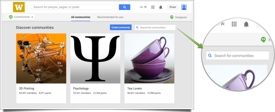 Screen Shot of Google Plus