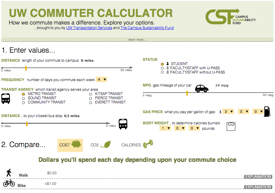 UW commuter calculator