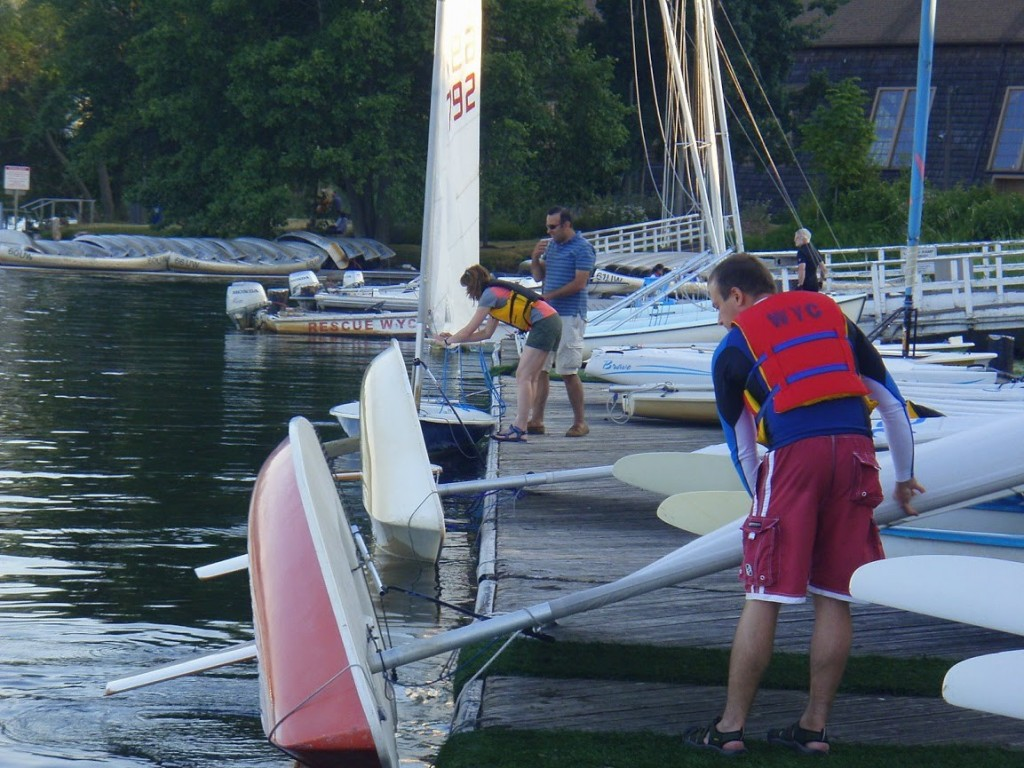 WYC members dock their dinghies at the Waterfront Activities Center.