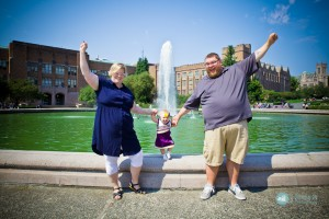family fountain with cheerleading baby