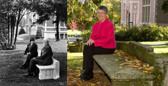 Above left: Edmond Meany and his wife Lizzy, seated on the Class of 1885 bench in the 1930s.  Above right: Antoinette Wills, seated on that same bench. Photos courtesy of UW Libraries Special Collections (image # UW534) and the College of Arts and Sciences.