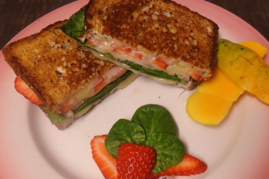 Spinach & Strawberry Grilled White Cheddar Sandwich With Balsamic Glaze