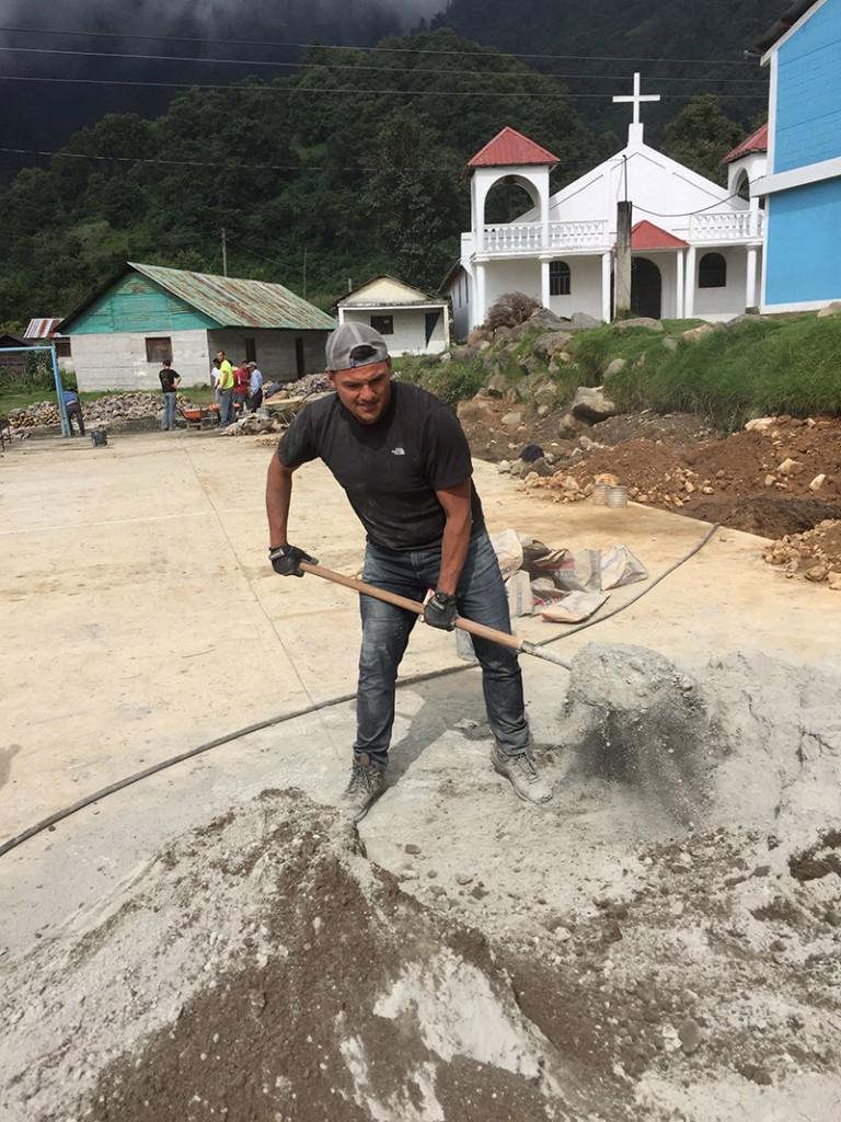 spreading concrete