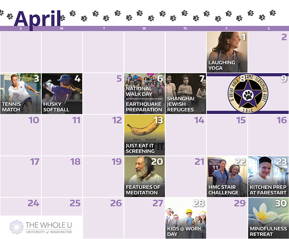 April Events Calendar Updated 2