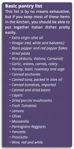 Italian pantry list
