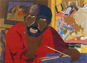 """""""Self Portrait"""" by Jacob Lawrence, painted in 1977 during his time as professor of art at the UW."""